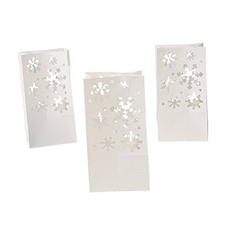 white christmas holiday snowflake luminary bag - 12 - Paper Bag Luminaries Christmas