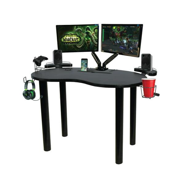 Atlantic Eclipse Space-Saving Gaming Desk with Storage, Black