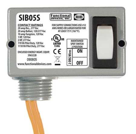 FUNCTIONAL DEVICES INC / RIB SIB05S Prewired Rocker Switch, SPST, 20A@277VAC