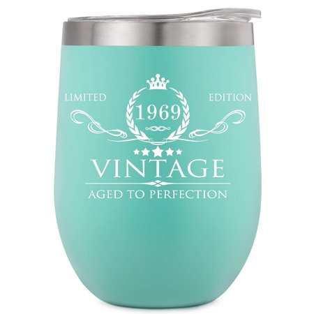 50th Birthday Centerpiece Ideas For Men (1969 50th Birthday Gifts for Women and Men Insulated Wine Tumbler - 12oz Mint Double Wall Vacuum Cup with Lid - Funny 50th Anniversary Gifts Idea, Decorations for Her/Him, Mom,)