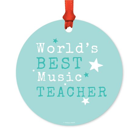 round metal christmas ornament worlds best music teacher includes ribbon and gift bag - Metal Christmas Music