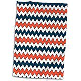 3D Rose Chevron Zigzag Pattern Orange Blue Navy twl 192859 1 Towel 15 x 22