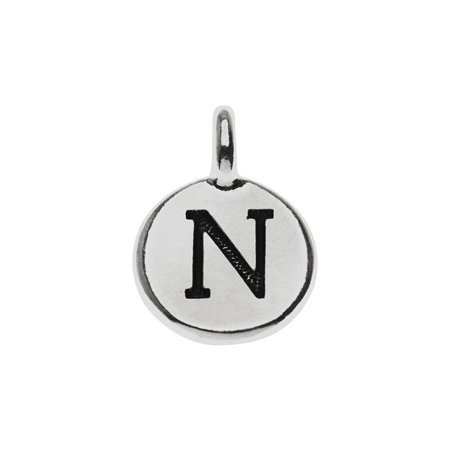 Alphabet Charm, Uppercase Letter 'N' 16.5x11.5mm, 1 Piece, Antiqued Silver