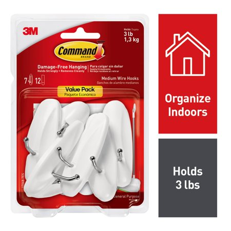 Command Wire Hooks Value Pack, Medium, White, 7 Hooks, 12 Strips/Pack ()