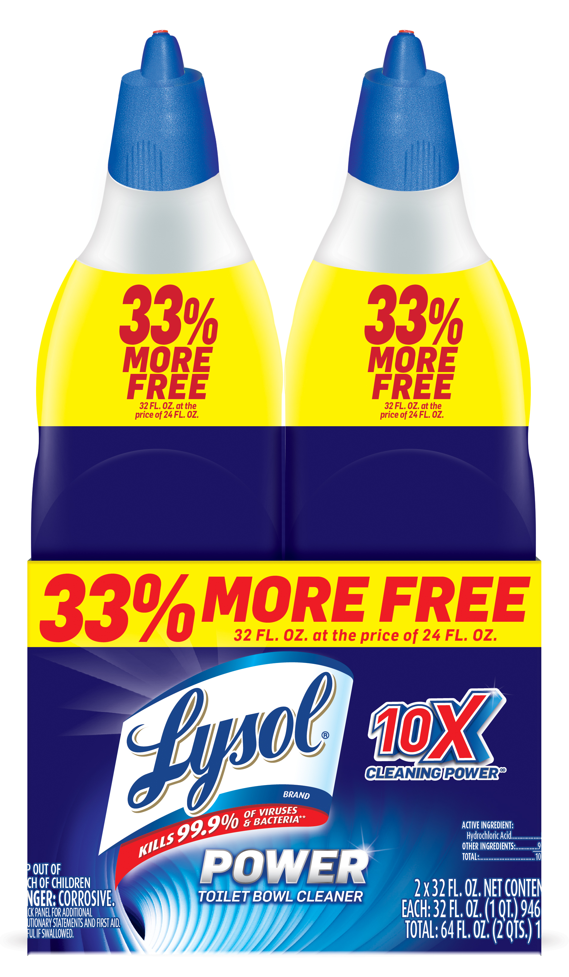 Lysol Power Toilet Bowl Cleaner, 64oz (2X32oz), 10X Cleaning Power