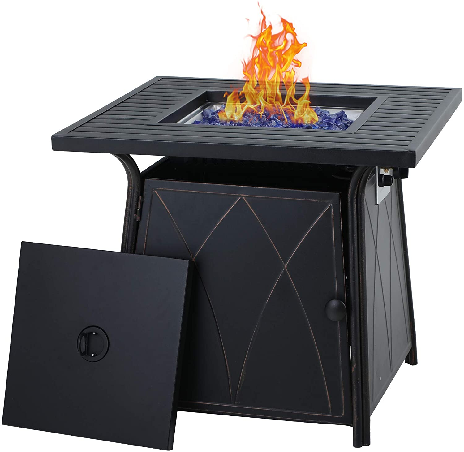 Mf Studio Gas Fire Pit Table 28 Inch Square Outdoor Patio Propane 50000 Btu Fire Pit Table With Lid And Blue Fire Glass Black Walmart Com Walmart Com