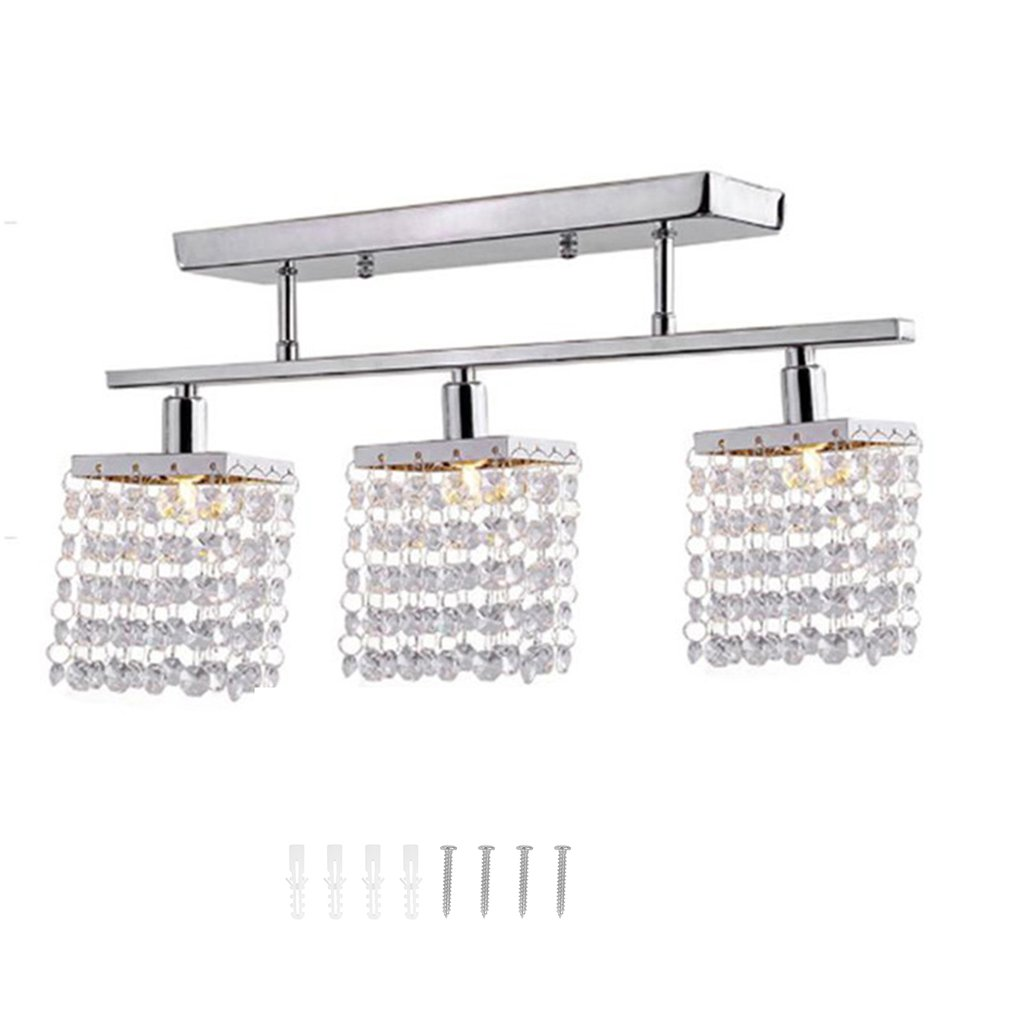 Mini Crystal Ceiling Light Modern Indoor Pendant Lamp 3 Heads Chandelier