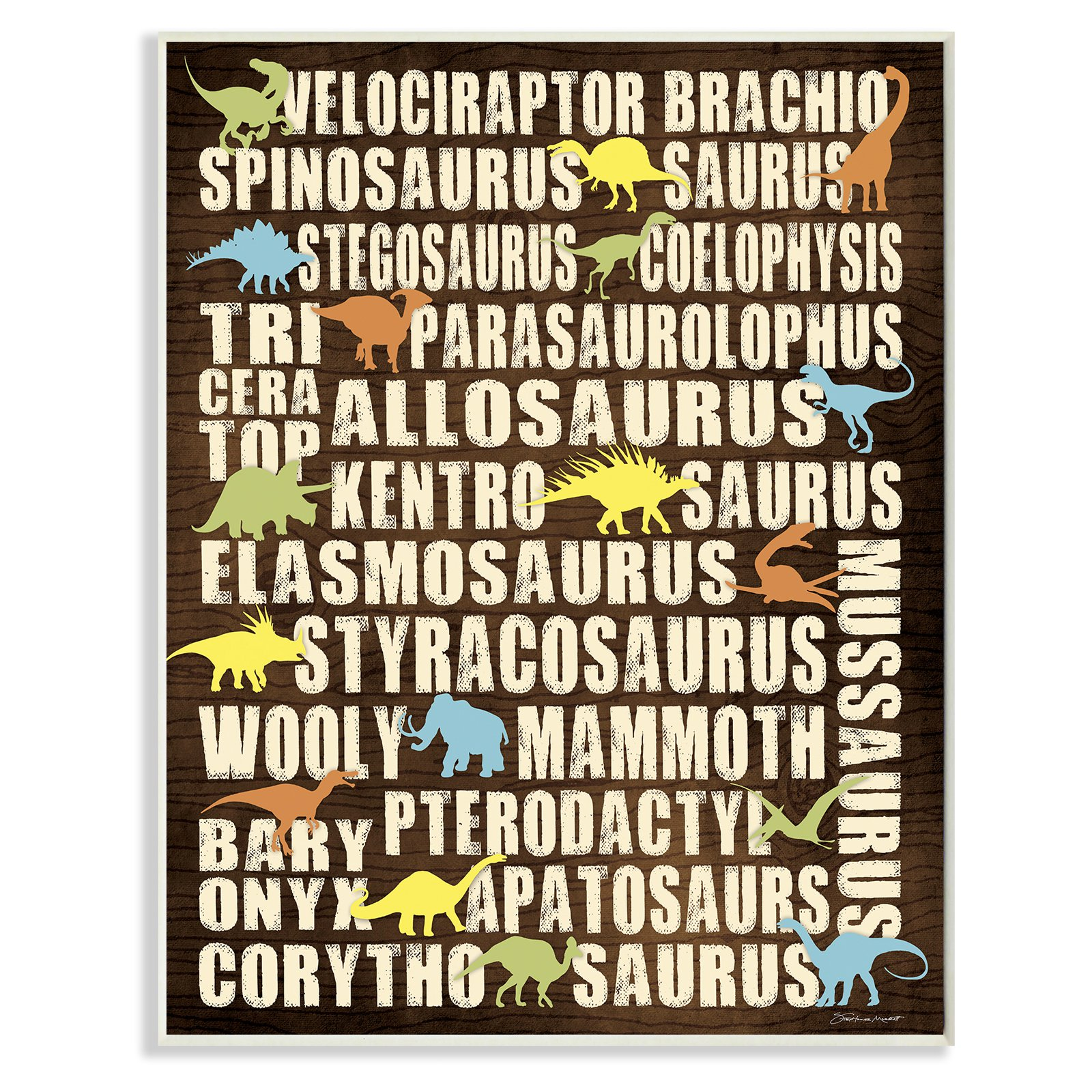 The Stupell Home Decor Collection Dinosaurs Chart Wall Plaque Art