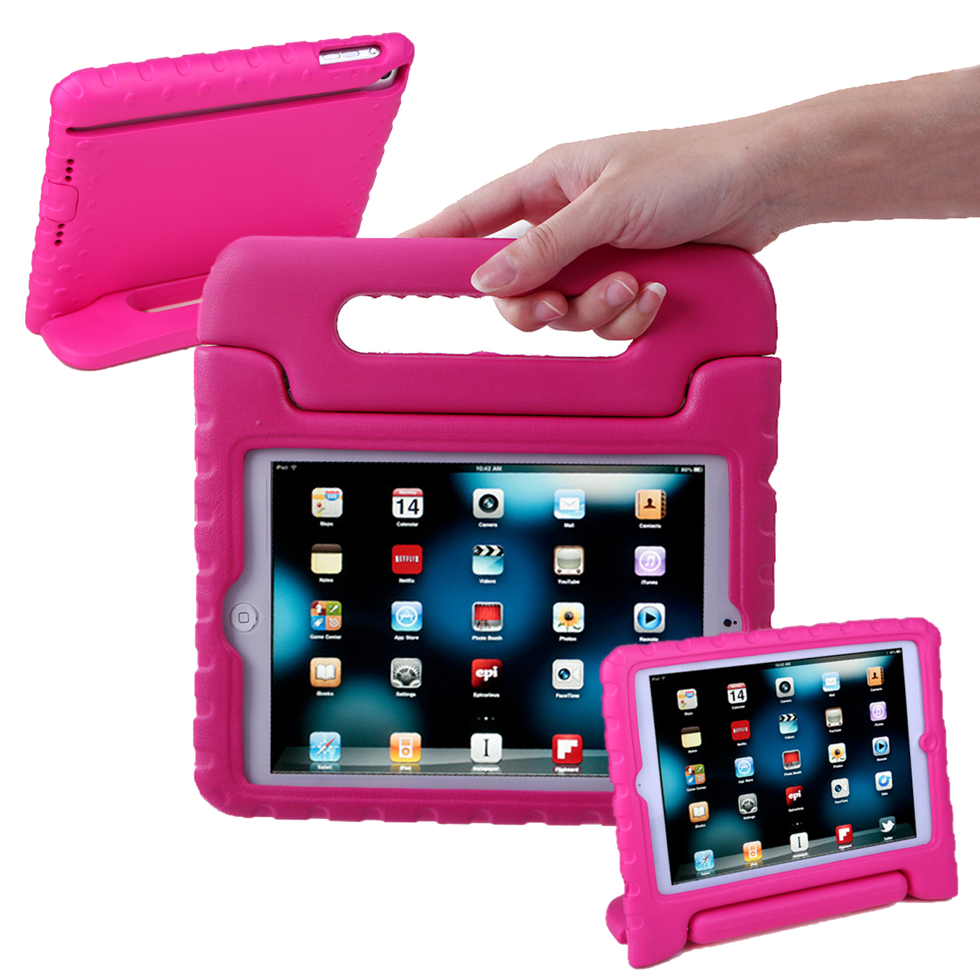 HDE iPad Mini Kids Case Shockproof Handle Stand Cover for Apple iPad Mini 2/3 Retina (Hot Pink)