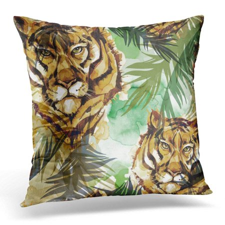 ARHOME Watercolor Exotic Tigers with Colorful Tropical Leaves African Animals Wildlife Can Be Printed on Bags Throw Pillow Case Pillow Cover Sofa Home Decor 16x16 Inches