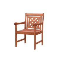 """34"""" Brown Natural Wood Finish Plaid Back Outdoor Furniture Patio Dining Armchair"""