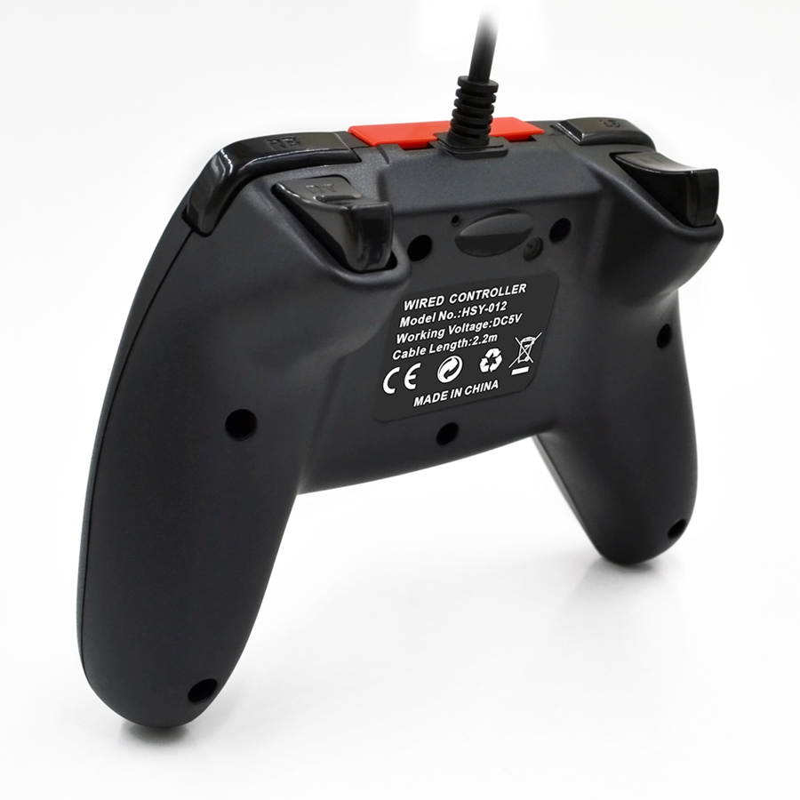 Ematic Nintendo Switch Wired Controller, Black + Red - NSWC012W