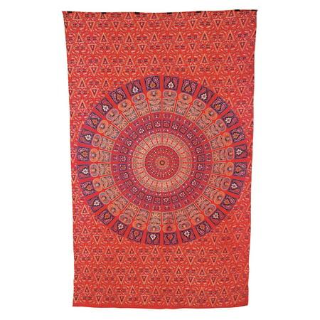 - Deesa Bohemian Mandala Tapestry, Wall Hanging and Bedspread (Medium, 4.5 x 7 Feet, Red and Purple, 100% Cotton, Fair Trade Certified)
