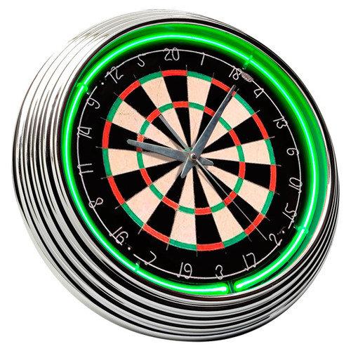On The Edge Marketing Dart Board 14.75'' Neon Wall Clock