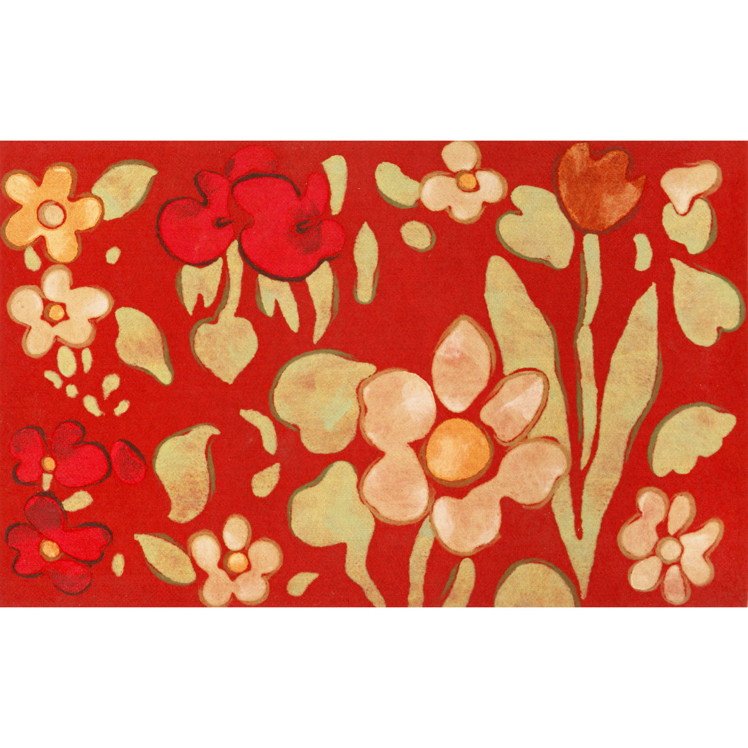 Liora Manne Visions IV Watercolor Flower Doormat by Supplier Generic