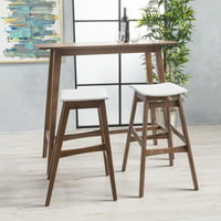 Noble House Jackie Mid-Century Modern Wood 3 Piece Bar Table Set