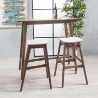 Noble House Jackie Mid-Century Modern Wood 3 Piece Bar Table Set, Natural Walnut, Light Beige