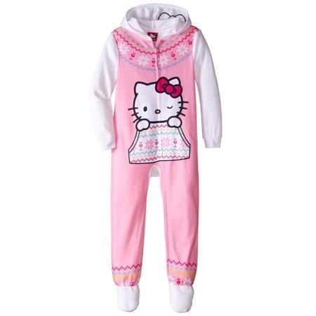 Girls' Hooded Fleece Blanket Sleeper Pajama, Sizes - Kitty Onesies For Adults