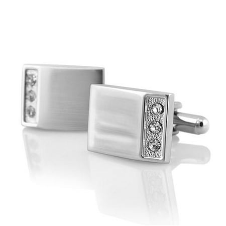 New Classic Men`s Wedding Party High Quality Smooth Cufflinks Square Cuff Links - Silver Rectangle with 3 Jewels