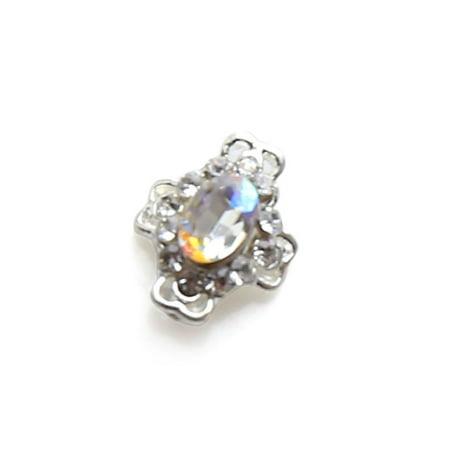 Cross Shape Nail Art Faux Rhinestones Toes Tips Glitter Crystal Charms Decoration (Halloween Toe Nail Art)