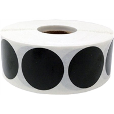 Black Circle Dot Stickers, 1 Inch Round, 500 Labels on a Roll