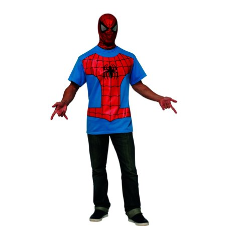 Marvel Classic Spider-Man Adult T-Shirt Kit Men's Adult Halloween Costume - Spiderman Halloween Makeup Tutorial