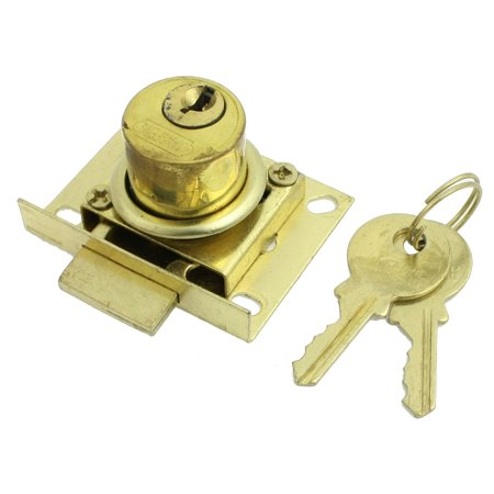 27mm Height Funiture Fitting Square Plate Glass Door Lock Gold Tone w - Height Lock