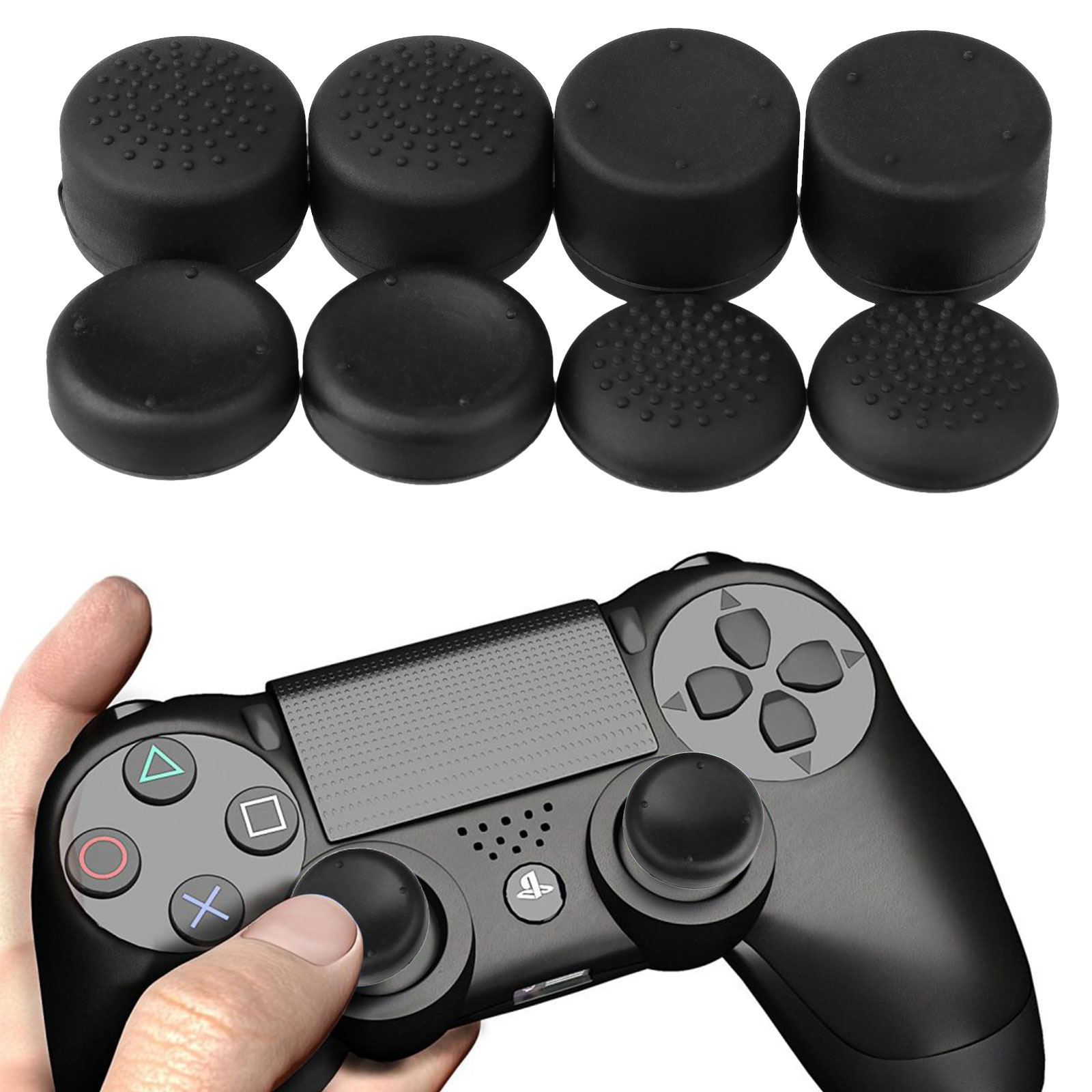 8-pack Controller Gamepad Raised Antislip Thumb Stick Grips Thumbsticks Joystick Cap Cover for PS4, Xbox one Controller