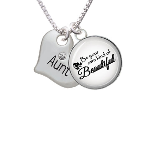 """Large ''Aunt'' Heart with Clear Crystal Be Your Own Beautiful Glass Dome Necklace, 18""""+2"""""""