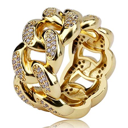Hip Hop Solid Cuban Link Chain Punk Men's Ring Iced Out Cubic-Zirconia (Gold, 10) Open Chain Link Ring