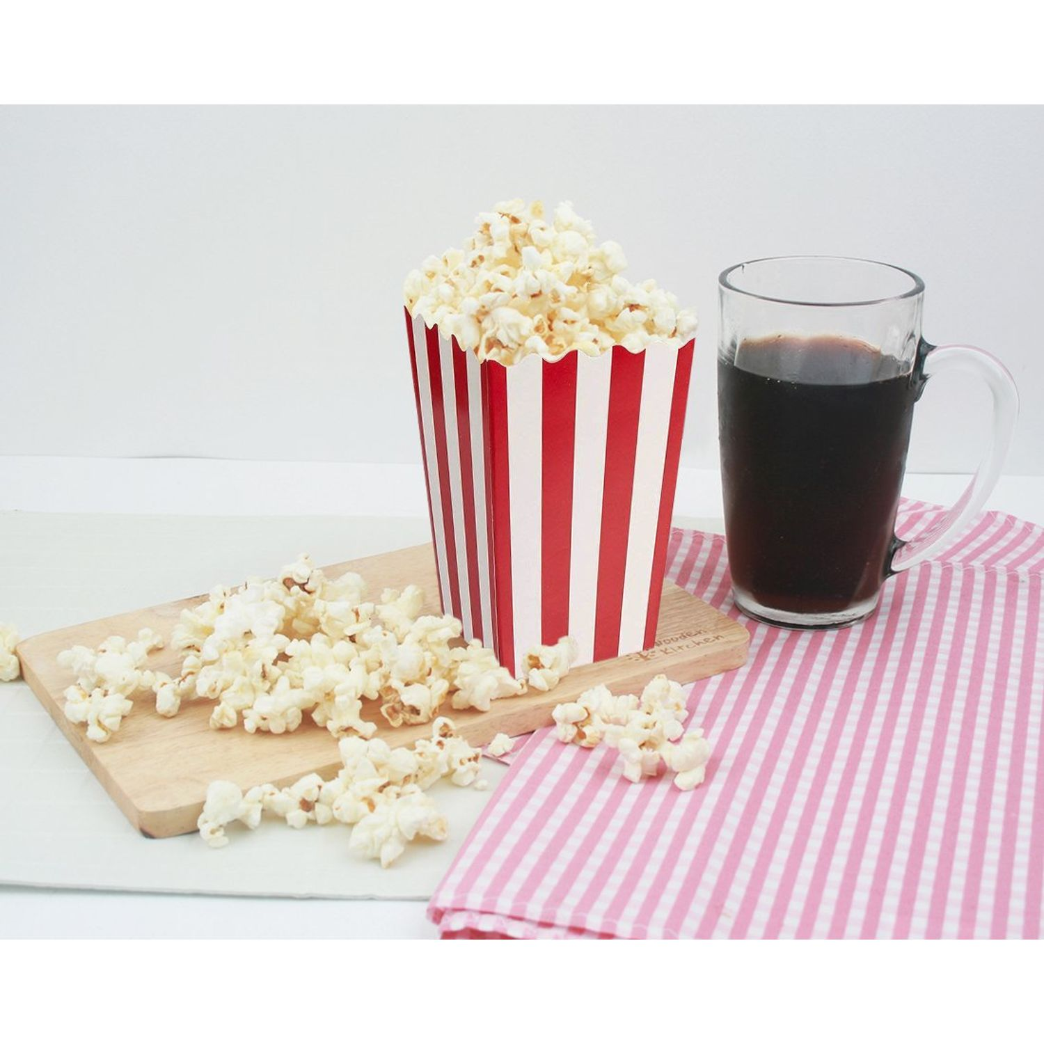 Red and White Birthdays Movie Night Blue Panda Set of 100 Mini Popcorn Favor Boxes 3.3 x 5.6 Inches 20 Ounce 3x5 Snack Containers for Carnival Party Supplies