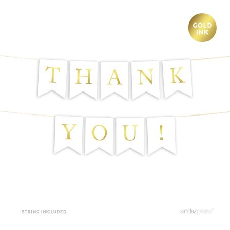 Thank You! Gold Ink Pennant Party Banner - Thank You Banner