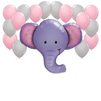 Elephant with Pink and Gray Balloons Party Decor Kit