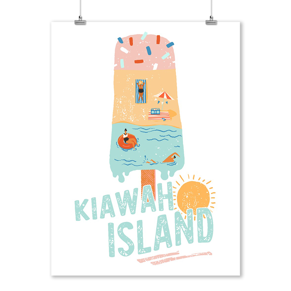 Kiawah Island, South Carolina - Summer Popsicle Scene - Lantern Press Artwork (9x12 Art Print, Wall Decor Travel Poster)