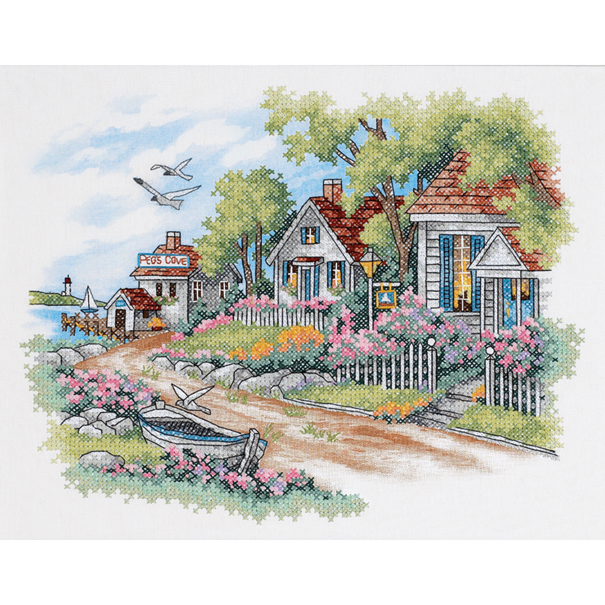 "Dimensions ""Cottages By The Sea"" Stamped Cross Stitch Kit, 14"" x 11"""