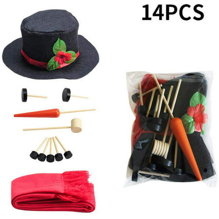 Peroptimist Snowman Making Kit Snowman Decorating Kit Christmas Holiday Decoration Gift Hat Scarf Eyes Mouth Nose Accessories for Winter Party Outdoor Toys Decoration ()