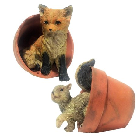 Homestyles Call of the Wild Squirrel in Pot and Baby Fox in Pot Animal Home & Garden Nature Figurines 2-Pack