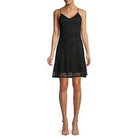 Lace A-Line Dress (Karen Kane Lace Overlay A Line Dress)