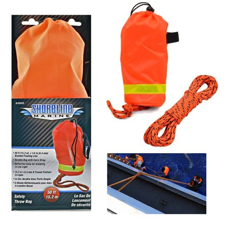 1 Shoreline Marine Throw Rope Rescue Line Reflective Boat Anchor Safety Bag