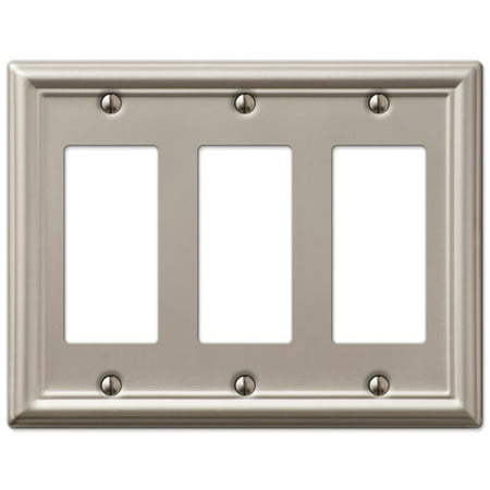 Triple Gfci Rocker 3 Gang Decora Wall Switch Plate Brushed Nickel