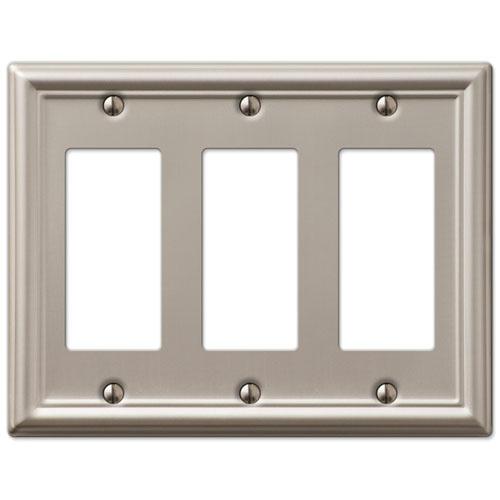 Triple GFCI Rocker 3-Gang Decora Wall Switch Plate, Brushed Nickel