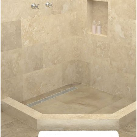 Tile Redi Neo Angle Triple Threshold Shower Base With Drain Grate