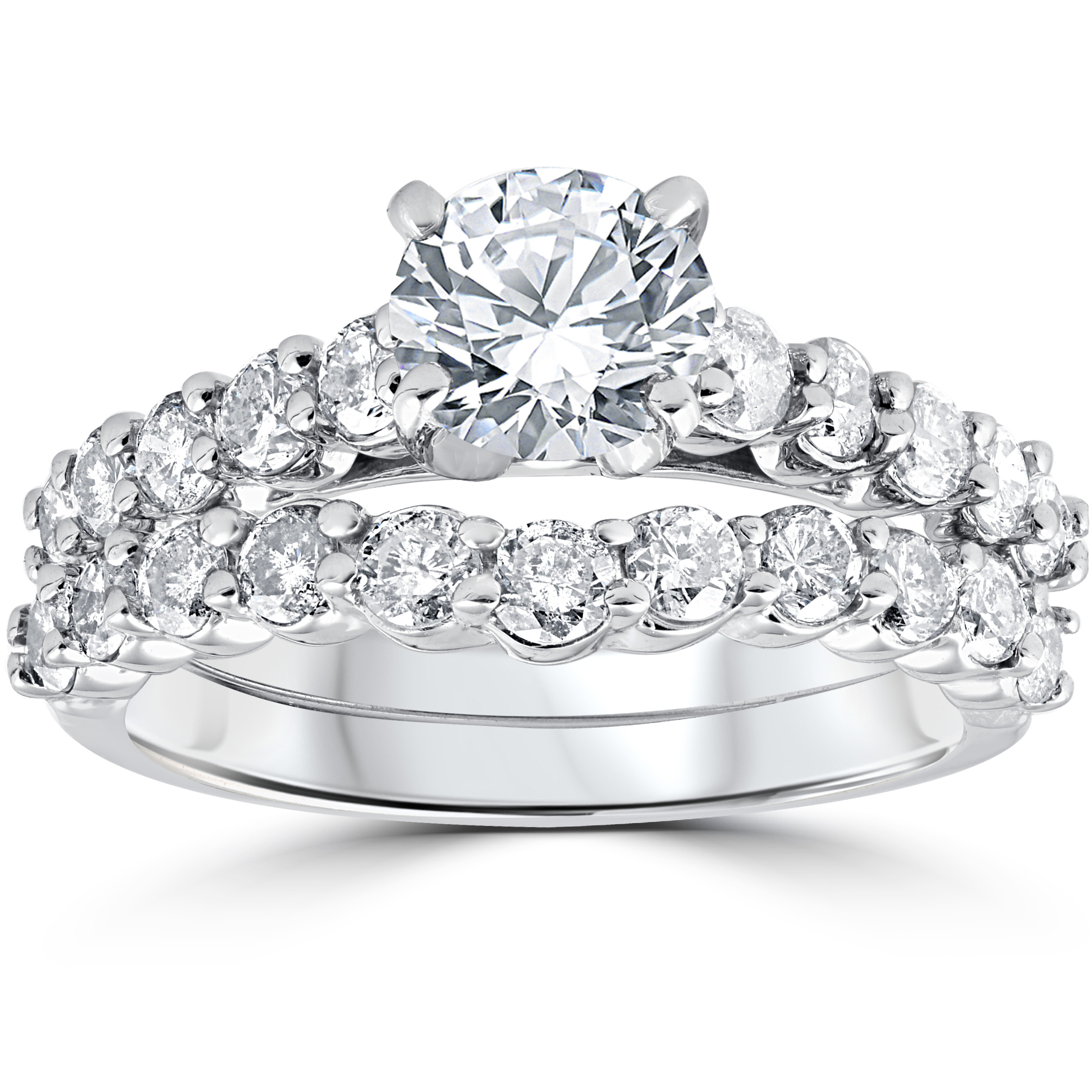 2ct Diamond Engagement Wedding Ring Set 14k White Gold by Pompeii3