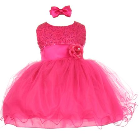 Baby Girls Fuchsia Sequin Tulle Ballerina Flower Girl Headband Dress - Ballerina Flower Girl Dress