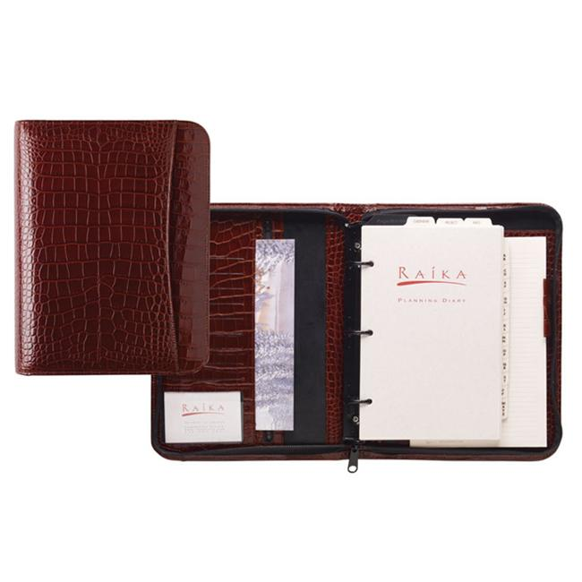 Raika NI 204 RED Three Ring Zipper Agenda - Red
