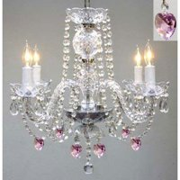 """Crystal Chandelier With Pink Heart Crystals! H 17"""" W17"""" Swag Plug In Chandelier"""
