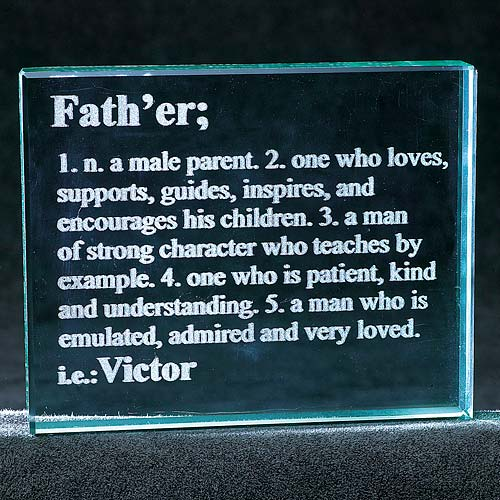 Personalized Father Definition Glass Block