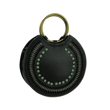 Montana West Cut-Out Collection Round Ring Handle Handbag with Crossbody Strap Vinyl Purse Handles