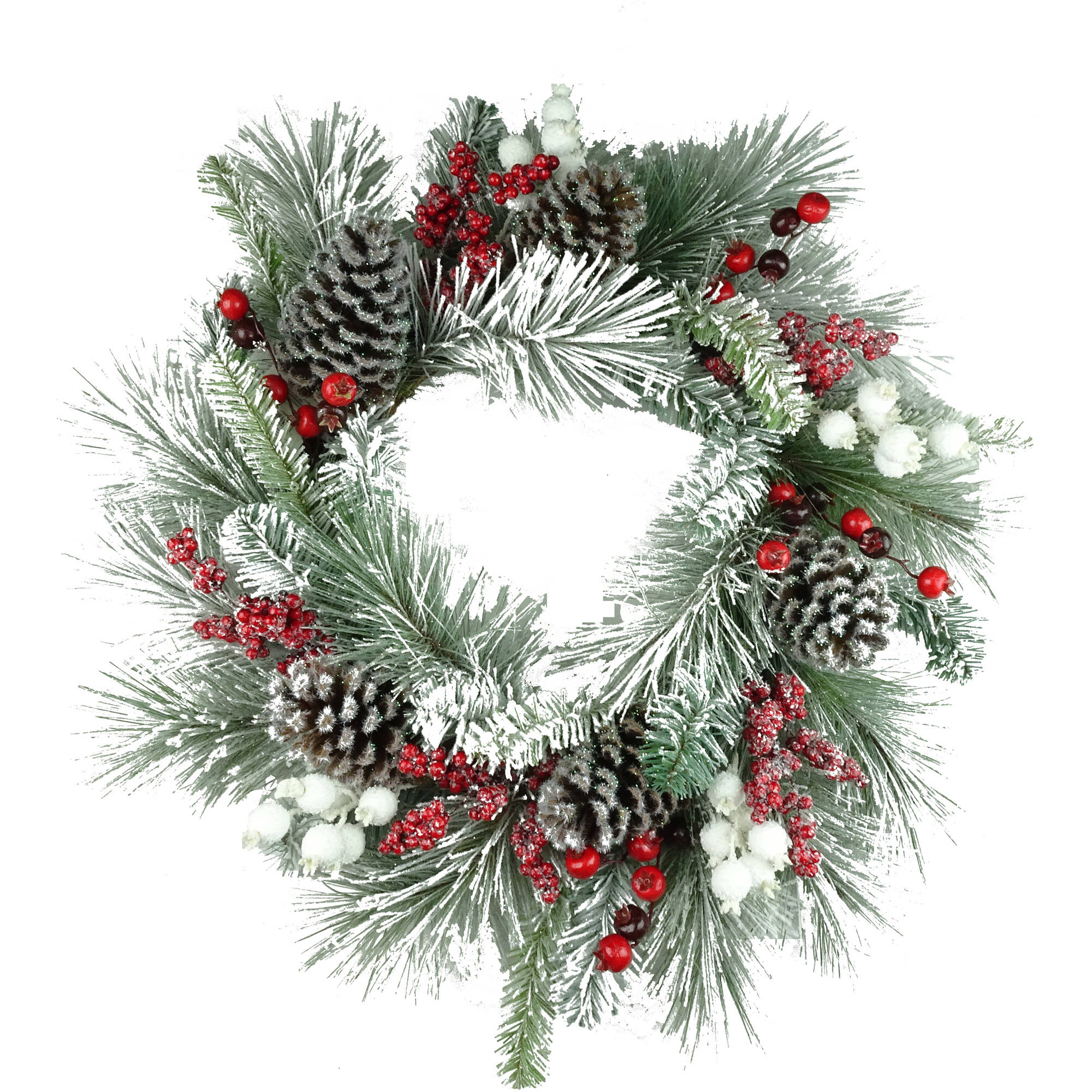 "Holiday Time Christmas Decor 30"" Deluxe White Flocked Holly Berry Wreath"