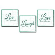 wall26 Live Laugh Love - 3 Piece Canvas Print - Wall Art Decor - Gallery Wrap Panels on Wooden Stretcher Bars - Colorful Design for Home - Beautiful Quote - Ready to Hang Teal